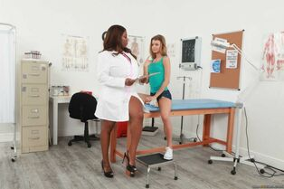 Big-titted black doc discovers that her young patient..
