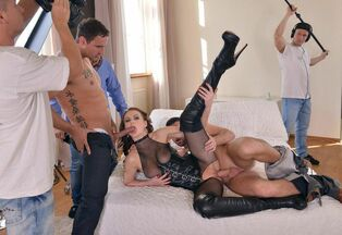 Trouble-free whore Tina Kay in first-ever group sex