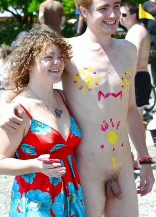 Bare naturist student posing with Bare bf in public,..
