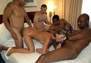 White mature gals get plumbed by dark-hued  men at..