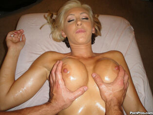 Massagecreep's big-chested babe Jessica facial jizz shot..